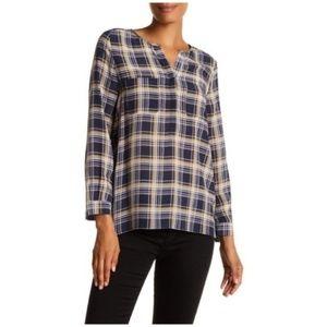 Joie • Nepal plaid silk button down top shirt